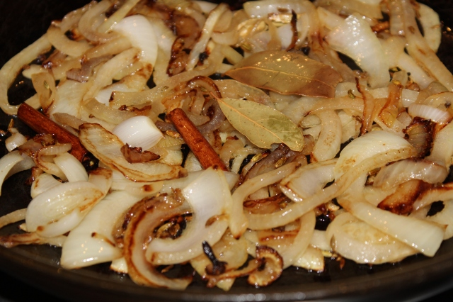 Partly caramelize the onions