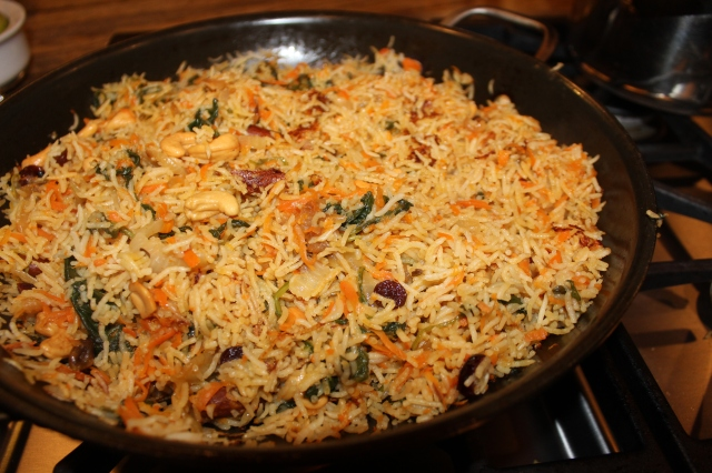 The pilaf is done when the water is absorbed