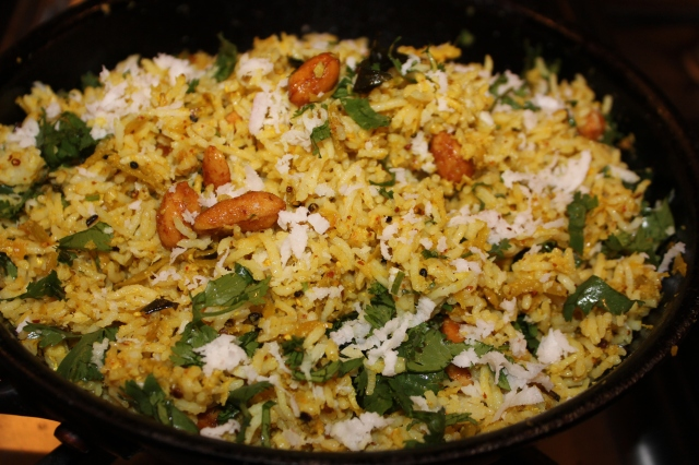 Green mango rice with peanuts and coconut