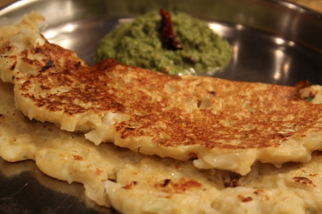 Cabbage Adai with Coriander Chutney.