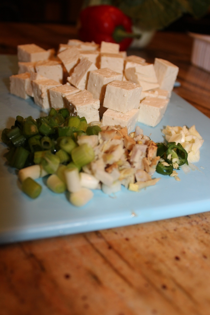 Cube tofu, mince garlic, ginger, green green chilies, and scallions