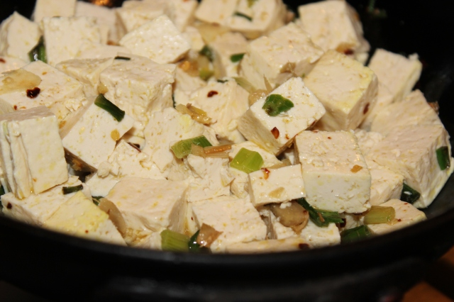 Add the cubed tofu